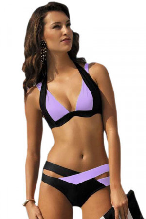 SW717-111 Costum de baie Color Block, cu push-up