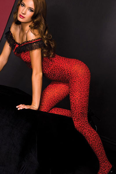 BS118-3 Bodystocking cu dantela si model leopard