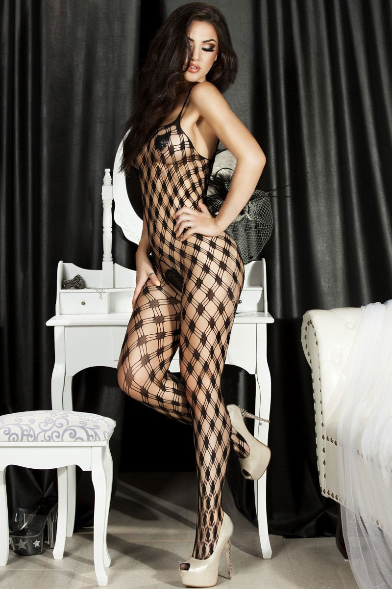 BS120-1 Bodystocking din plasa cu model