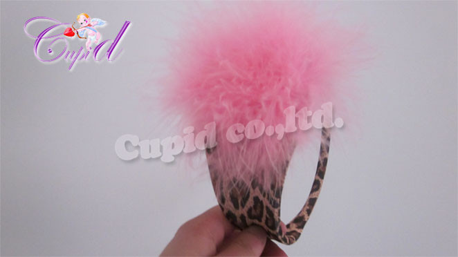 GS361-55 Chilot invizibil c-string cu model animal print si puf in fata