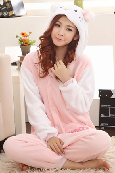 L305 Pijama kigurumi, tip salopeta, model Hello Kitty