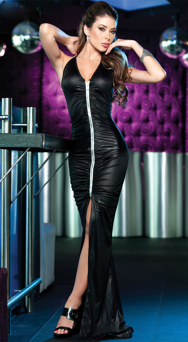 Y161 Rochie lunga din latex