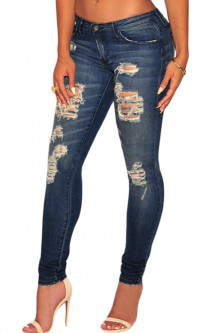 Blugi  - CL602-444 Jeans skinny, model taiat Sandblast
